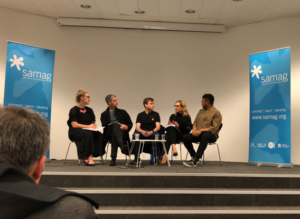 Photo of panellists: (left to right): Clara Edwards (chair), The Hon. John Graham, MLC, Andrew Levins (DJ Levins), Emilya Colliver, Paschal Daantos Berry. Source: Callum Maddox