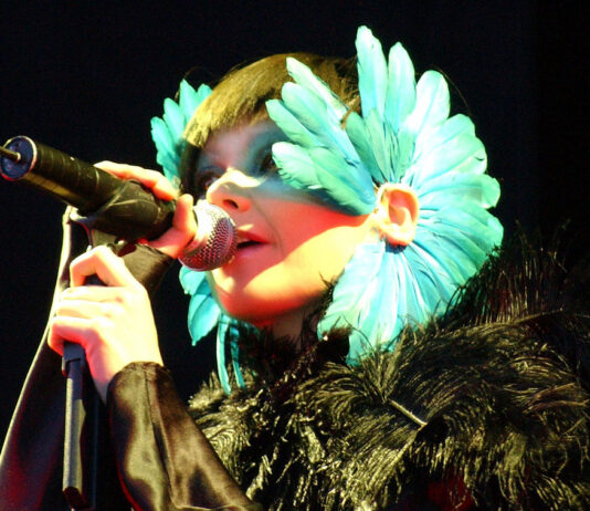 Björk performing at the Hurricane Festival in 2003 by Zach Klein is licenced under CC BY 2.5.